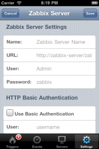 Zabbix Server Settings
