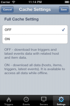 Cache setting