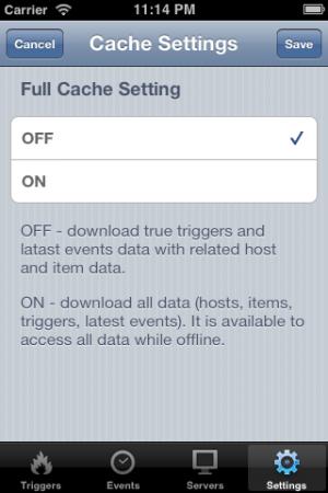 Cache setting